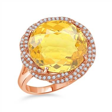 Citrine faceted gemstone diamond halo ring set in 14K rose gold at B2C Jewels