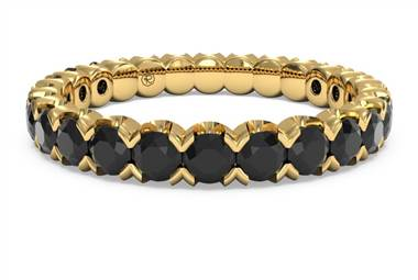 Classic Black Diamond Stackable Ring  - in 18kt Yellow Gold