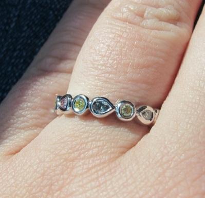 Cokitty Custom Fancy Colored Diamond Ring Hand Shot