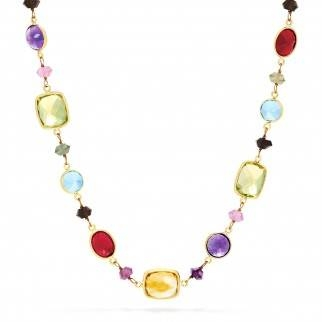 Mosiac multi gemstone necklace in 14K yellow gold at EFFY