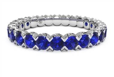 Classic blue sapphire stackable ring set in palladium at Ritani