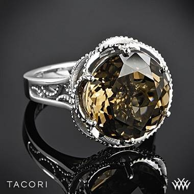 Tacori truffle smokey quartz ring set in sterling silver with 18K yellow gold accents at Whiteflash