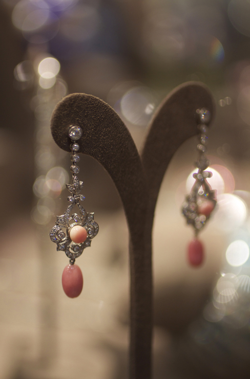 Conch pearl and diamond earrings by Pioneer Gems