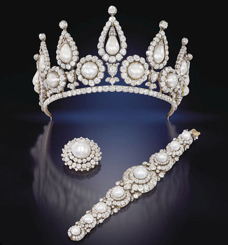 The Rosebery pearl and diamond tiara, bracelet and brooch, Christie's Auction