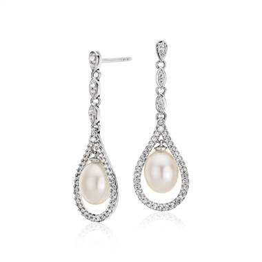 Vintage-inspired freshwater cultured pearl and white topaz drop earrings set in sterling silver