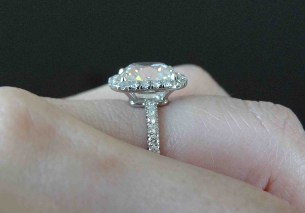 Cushion Halo Diamond Ring Profile