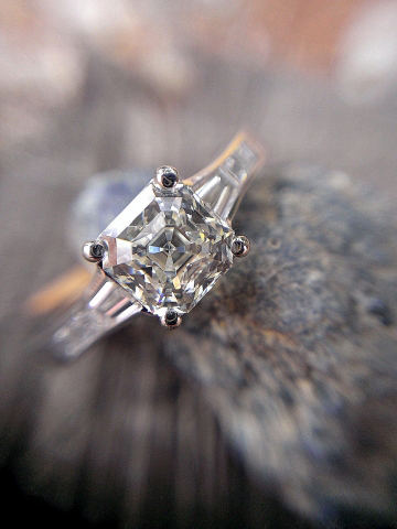 Jeff Cooper engagement ring with Octavia asscher diamond