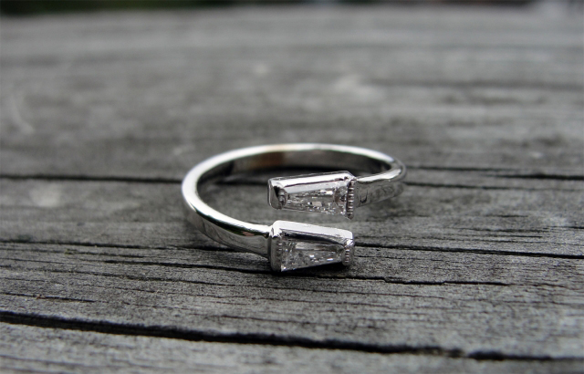 Baguette diamond bypass-style ring