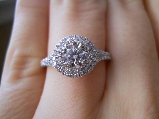 Diamond double-halo engagement ring shared by Laila619