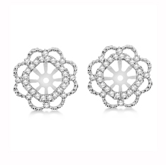 Allurez Diamond Halo Flower Earring Jackets In 14k White Gold 1 017