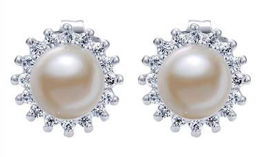 Diamond Pearl Stud Earrings set in 14kt White Gold 0.24ct EG395W45PL