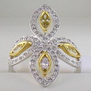 yellow diamond right hand ring