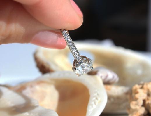 Custom diamond engagement ring side detail