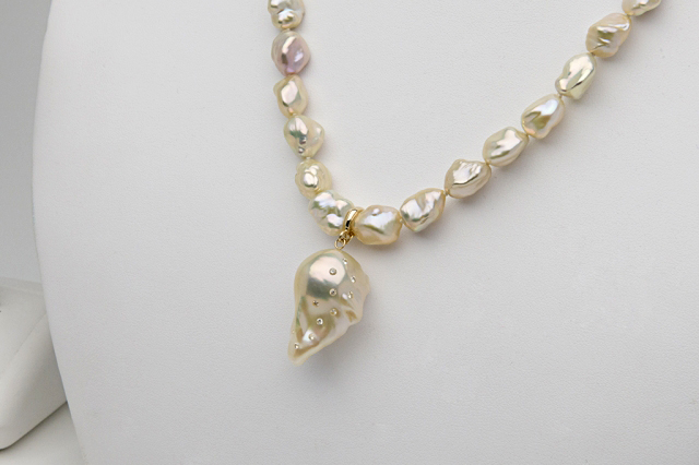 Pearl Paradise fireball pearl necklace with diamonds shared by pinkjewel