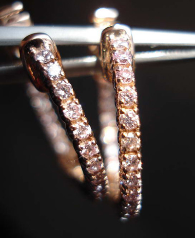 Pink Diamond Hoop Earrings