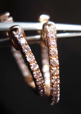 Pink Diamond Hoop Earrings by Diamonds by Lauren