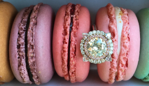 Double halo diamond ring with pink diamonds - image by madelise