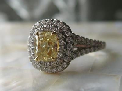 Double Halo Yellow Diamond Ring