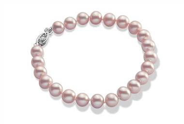 Pink freshwater pearl bracelet in 14K white gold at Ritani