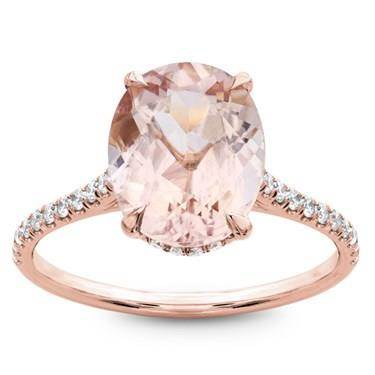 Morganite French cut pave engagement ring at Adiamor