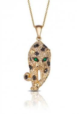 Signature 14K yellow gold diamond and emerald pendant at EFFY
