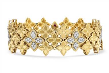 Roberto Coin princess flower wide link diamond bracelet in 18K yellow gold and 18K white gold at Ritani