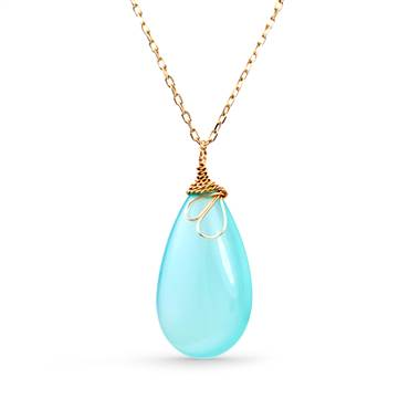 Blue chalcedony gemstone drop pendant in 14K yellow gold at B2C Jewels