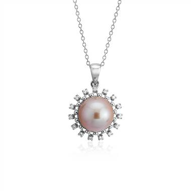 Pink freshwater cultured pearl and diamond pendant at Blue Nile