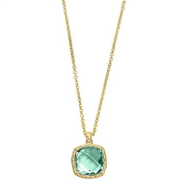 Genuine green amethyst pendant set in 14K yellow gold at B2C Jewels