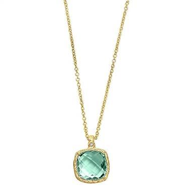Genuine green amethyst pendant set in 14K yellow gold at B2C Jewels