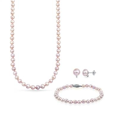Freshwater pink pearl jewelry set earrings bracelet necklace with sterling silver at B2C Jewels