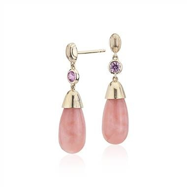 Frances Gadbois pink opal and pink sapphire drop earrings set in 14K yellow gold at Blue Nile