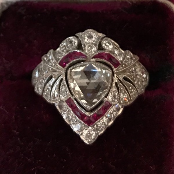 ihuy138's Edwardian Diamond and Ruby Platinum Dinner Ring