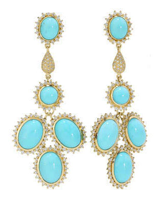 Elizabeth Showers turquoise and diamond chandelier earrings