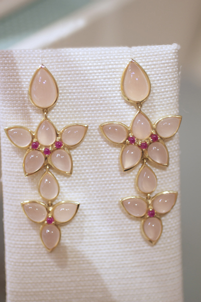 Elizabeth Showers Mariposa chandelier earrings with rose quartz over mother-of-pearl
