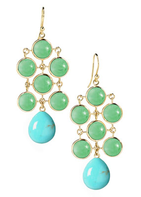 Elizabeth Showers 18kt yellow gold large drop earrings with chrysophrase and turquoise