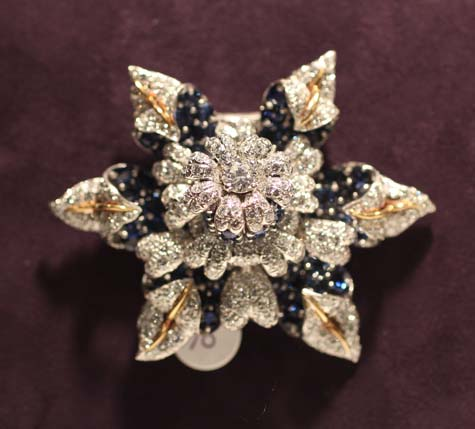 Elizabeth Taylor Exhibition - Jean Schlumberger Sapphire and Diamond Brooch