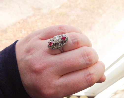 Elliot86 Ruby and Diamond Art Deco Ring hand shot