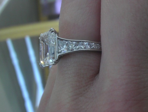 Celebrity emerald cut diamond ring