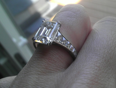 Emerald Cut Diamond Ring with French Cut Diamonds