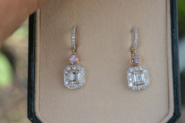 Emerald cut and pink diamond earrings shared by Catmom