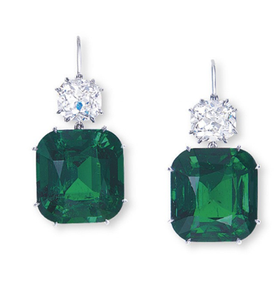 Emerald Diamond Ear Pendants Christie's Hong Kong November 29, 2011