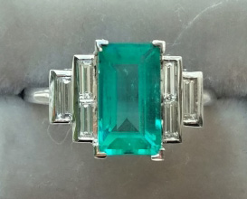 mochiko42's Custom 2.22 Carat Colombian Emerald and Diamond Ring (Top View) - image from mochiko42