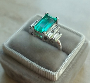 mochiko42's Custom 2.22 Carat Colombian Emerald and Diamond Ring (Side Angle View) - image from mochiko42