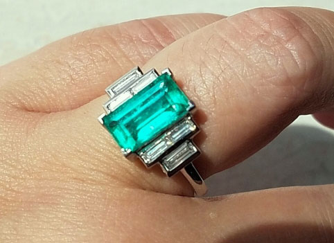 mochiko42's Custom 2.22 Carat Colombian Emerald and Diamond Ring (Top Side View) - image from mochiko42