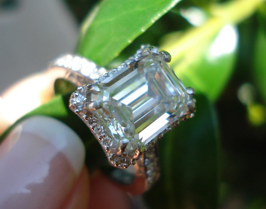 2.75-carat emerald-cut diamond in Tacori setting