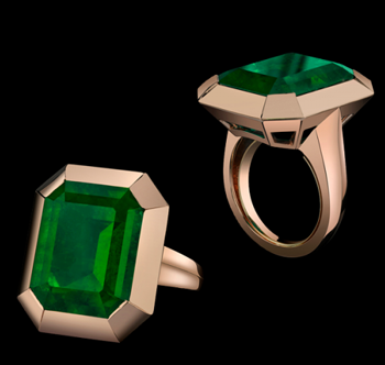 the style of jolie emerald tablet ring