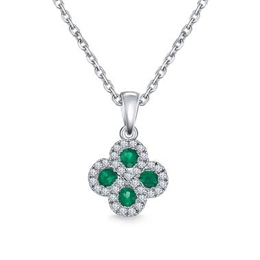 Diamond halo emerald clover pendant necklace set in 14K white gold at B2C Jewels