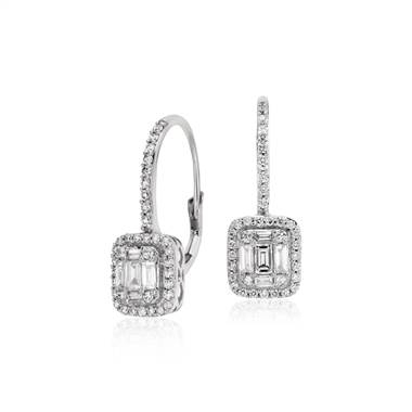 Baguette diamond lever back drop earringsset in 18K white gold at Blue Nile
