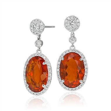 Fire opal and diamond drop earrings set in 18K white gold at Blue Nile